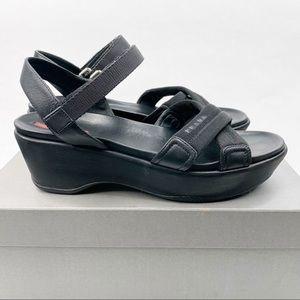 Prada Black Crisscross Nylon Platform Sandal